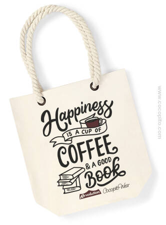 Happiness is a cup of coffee and a good book - Torba plażowa Premium Wymiary: 24 x 40 x 13 cm