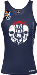 Live Fast Die Young Two Skulls - Top damski granat