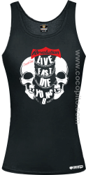 Live Fast Die Young Two Skulls - Top damski czarny