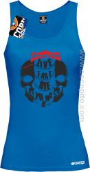 Live Fast Die Young Two Skulls - Top damski niebieski