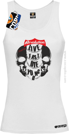 Live Fast Die Young Two Skulls - Top damski biały