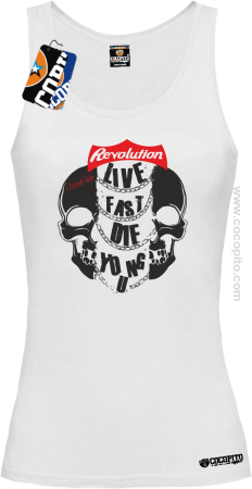 Live Fast Die Young Two Skulls - Top damski