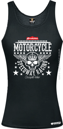 Motorcycle Crown Skull Speedway - Top damski czarny