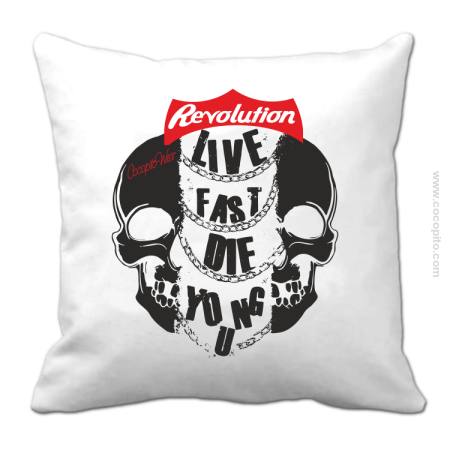 Live Fast Die Young Two Skulls - Poduszka