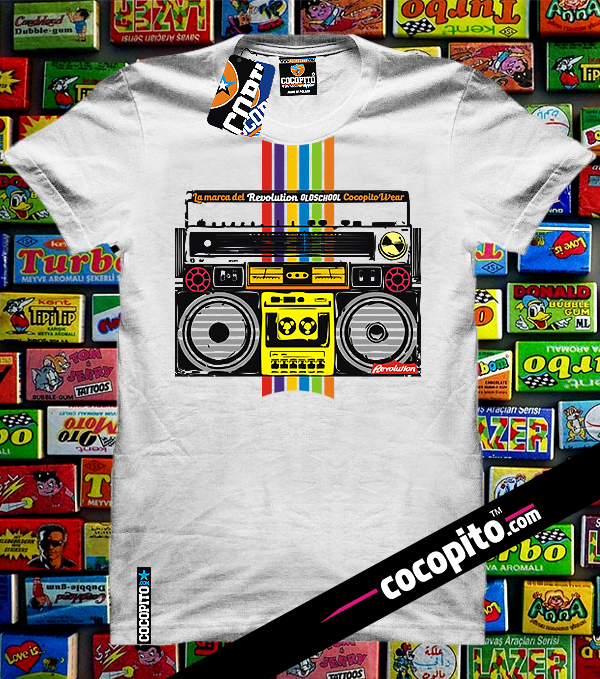 old tape recorder tshirt white cocopito