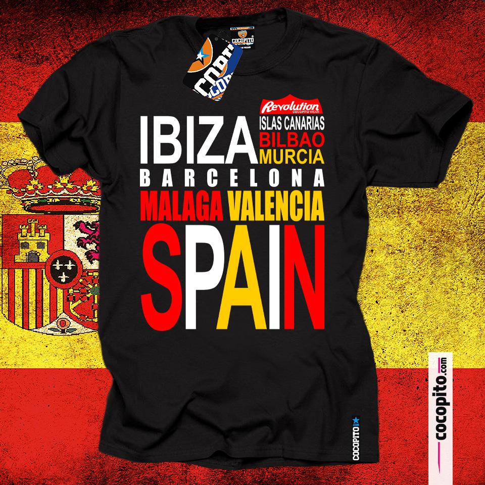 Spain FLAG WORDS koszulka z hiszpańskim nadrukiem